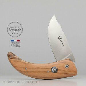 Couteau Corse Amicu Bois Olivier Médaillon Maure
