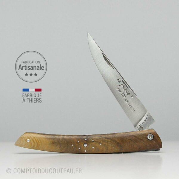 Couteau le Thiers en Bois de Pistachier plein manche guilloché à la main