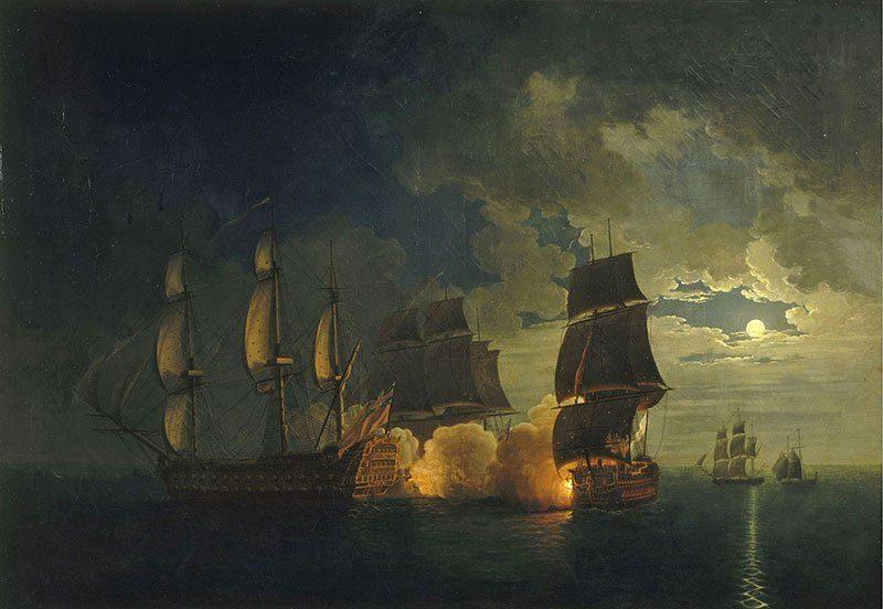 Combat navires Scipion et London 1782