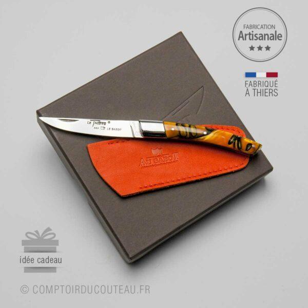 couteau Thiers Décor Orange Torsade