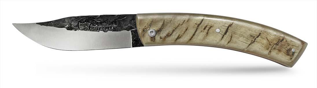 Couteau Baribal Corne de bélier lame martelée guilloché main