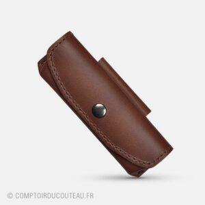 Etui cuir marron pour couteau de poche attache ceinture horizontal
