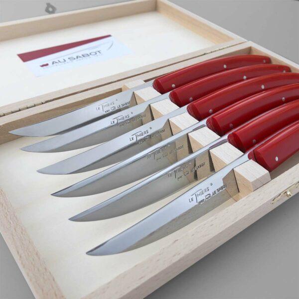coffret de 6 couteau de table le thiers manche rouge