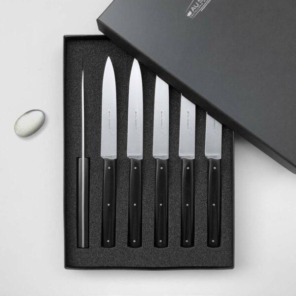 6 couteaux de table noir Richelieu fabriqués à Thiers