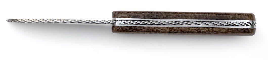 couteau Armor prestige érable fumé guilloché main (effet cordage)