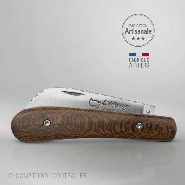 couteau london armor breton plein manche érable fumé guilloché main (bout marin)