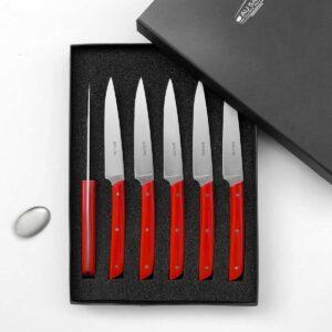 coffret 6 couteaux design épure rouge