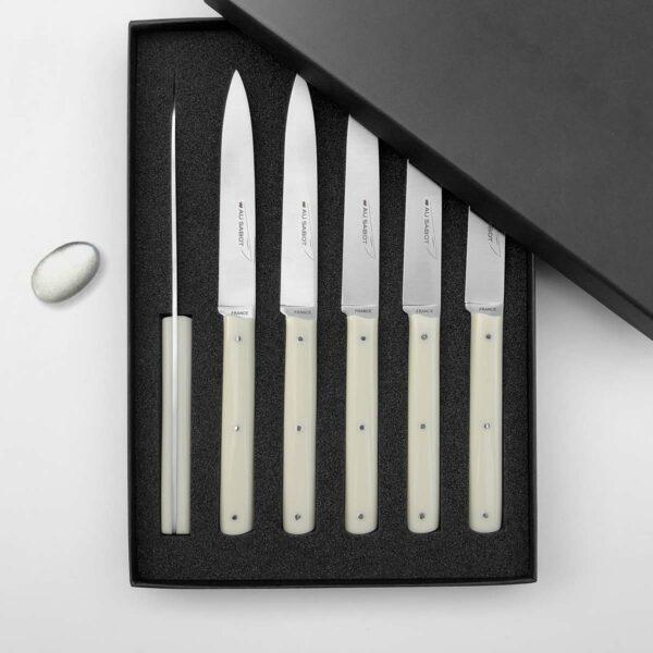 6 couteaux de table couleur sable écru Richelieu fabriqués à Thiers