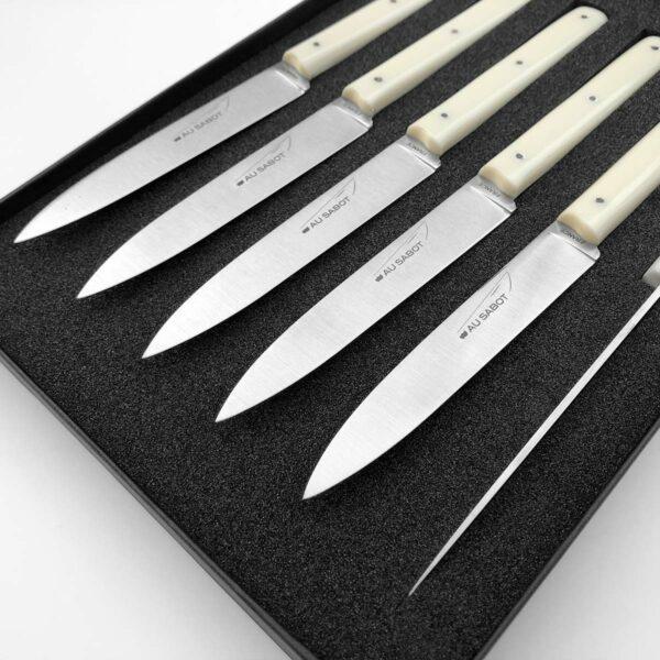 coffret 6 couteaux de table écru (sable) Le Richelieu fabriqué à thiers