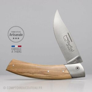 couteau chasseur Baribal manche bois olivier