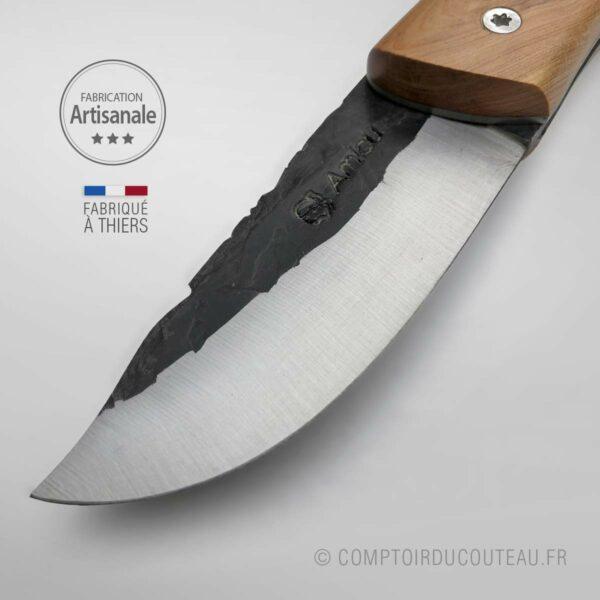 couteau corse amicu lame martelée carbone genévrier guilloché main