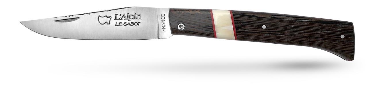 couteau alpin de collection en wengué et phacochère guilloché