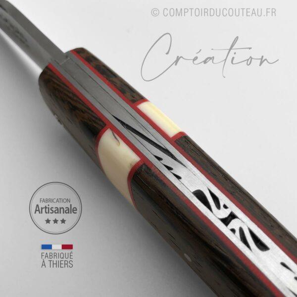 couteau de collection Alpin® - Wengué et Phacochère - lame et ressort guillochés