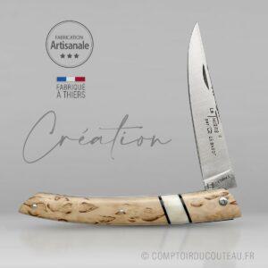 couteau de collection le Thiers® - bouleau de Finlande et Phacochère - lame et ressort guillochés
