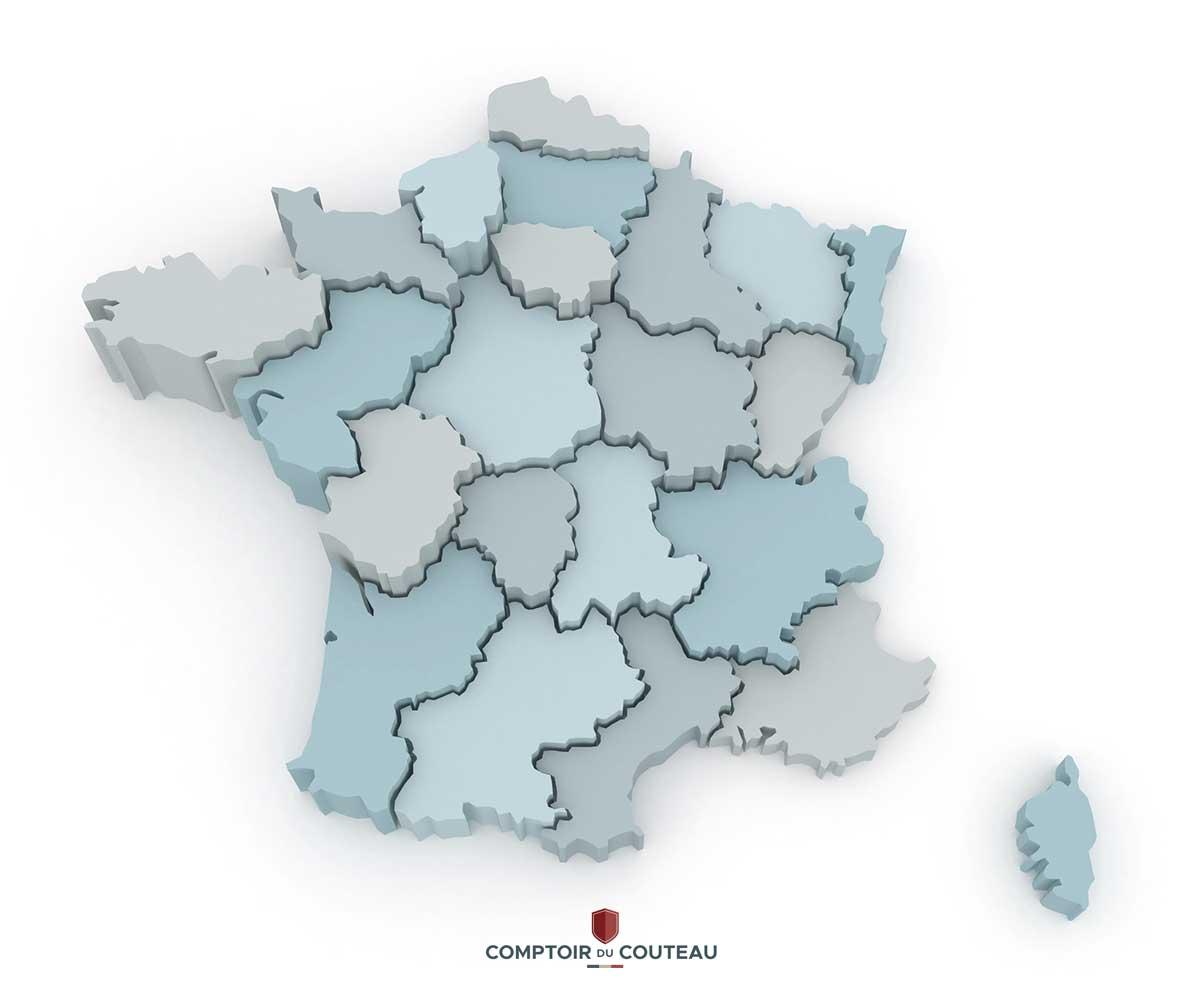 carte couteaux régionaux de france